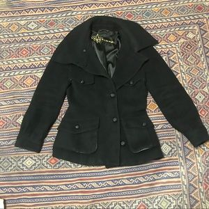 Mackage black wool coat with leather trim size L